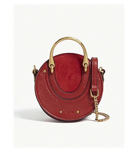 CHLOE Mini Pixie suede leather shoulder bag (Dahlia+red