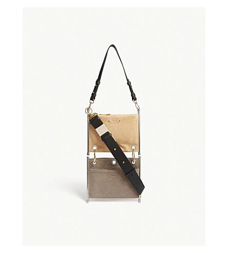 CHLOE Roy suede double shoulder bag (Blushy+pink/grey