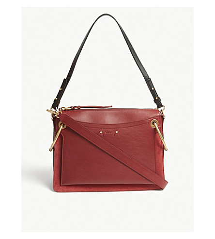 CHLOE Roy medium leather and suede shoulder bag (Plum+purple