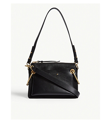 CHLOE Roy leather and suede small shoulder bag (Black