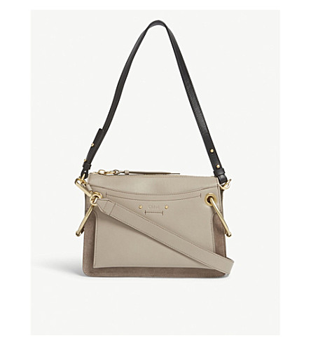 CHLOE Roy small suede leather shoulder bag (Motty grey