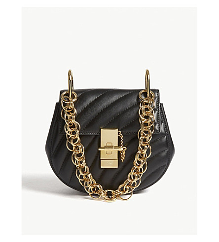 CHLOE Drew Bijou mini quilted leather shoulder bag (Black/gold