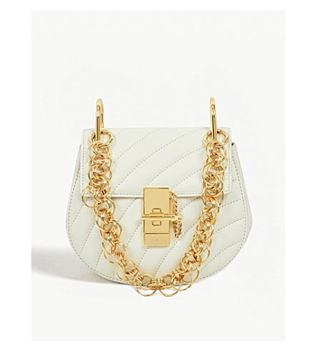 CHLOE Drew Bijou mini quilted leather shoulder bag (Natural+white/gold