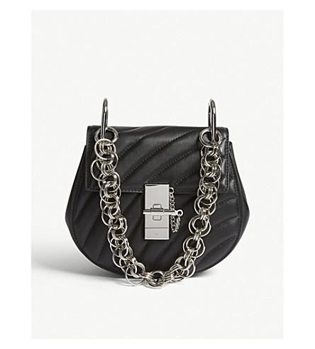CHLOE Drew Bijou mini quilted leather shoulder bag (Black/silver
