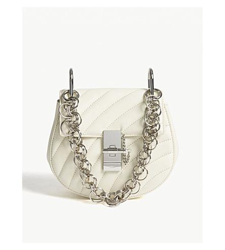 CHLOE Drew Bijou quilted leather shoulder bag (Natural+white/silver