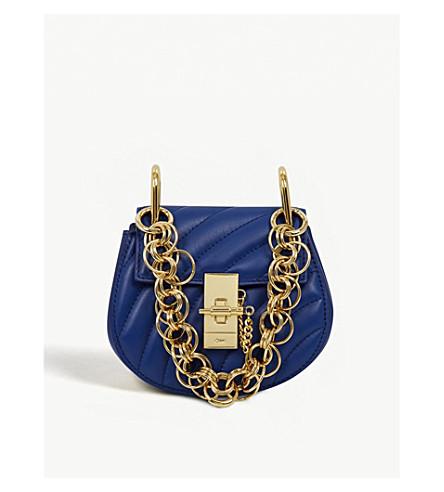 CHLOE Drew Bijou nano quilted-leather cross-body bag (Majesty+blue