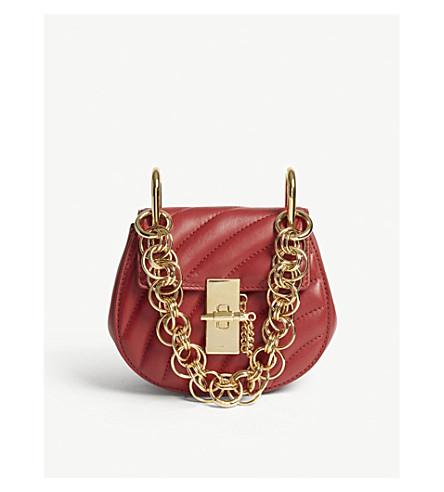CHLOE Drew Bijou nano leather shoulder bag (Dahlia+red/gold