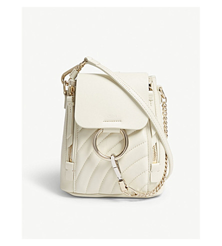 CHLOE Faye quilted leather small backpack (Natural+white