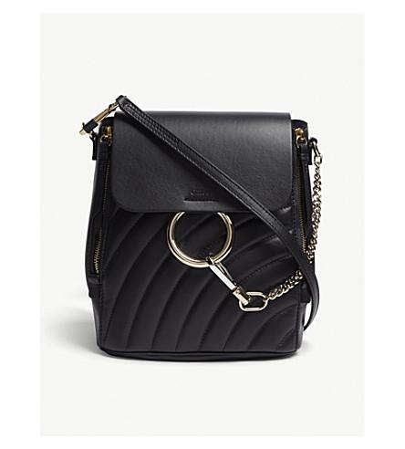 CHLOE Faye small leather backpack (Full+blue
