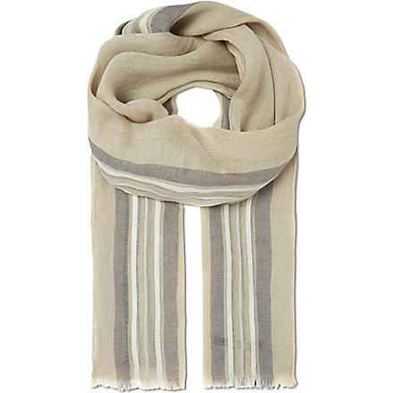 TIGER OF SWEDEN Striatti linen scarf (Beige