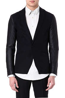 TIGER OF SWEDEN JEANS Leather-sleeve blazer
