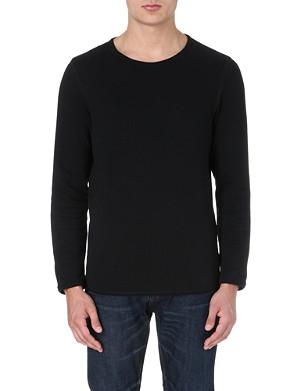 TIGER OF SWEDEN JEANS Raw edge cotton sweatshirt