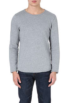 TIGER OF SWEDEN JEANS Raw edge cotton sweatshirt