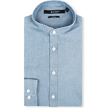 TIGER OF SWEDEN Navon slim-fit single-cuff granddad shirt (Denim