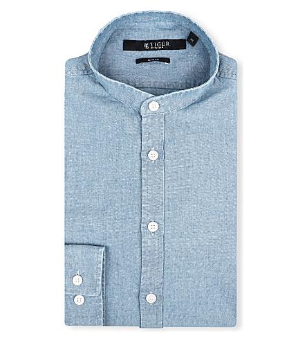 TIGER OF SWEDEN Navon slim-fit single-cuff granddad shirt (Denim