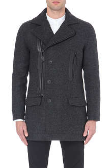 TIGER OF SWEDEN JEANS Docklands leather-detailing coat