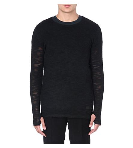 TIGER OF SWEDEN JEANS Sheer knitted jumper (Black