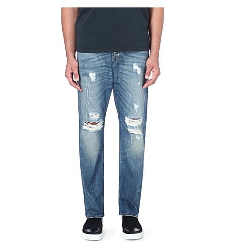 TIGER OF SWEDEN JEANS Distressed wide leg jeans (Blue