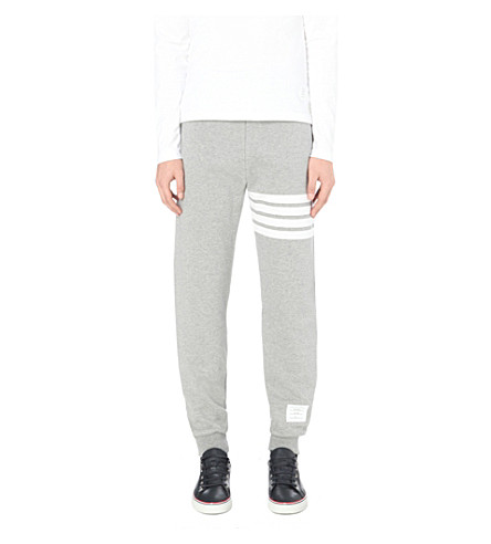 THOM BROWNE Striped cotton-jersey track pants (Grey