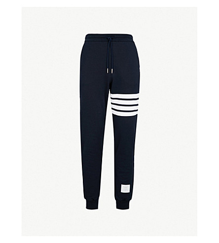 THOM BROWNE Striped cotton-jersey jogging bottoms (Navy