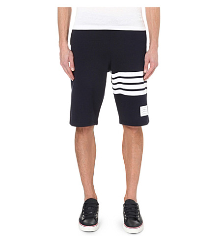 THOM BROWNE Striped cotton-jersey shorts (Navy/white