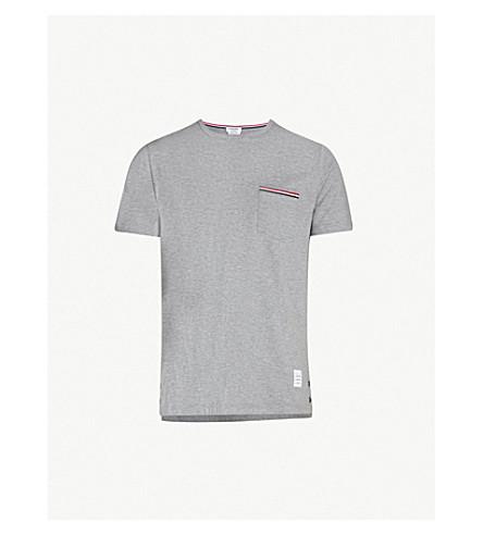 THOM BROWNE Striped-pocket cotton-piqué t-shirt (Light+grey
