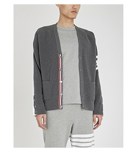 THOM BROWNE Striped-pocket cotton-piqué t-shirt (Light+grey