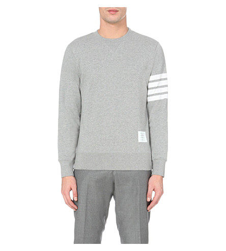 THOM BROWNE Striped-detail cotton-jersey sweatshirt (Grey