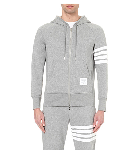 THOM BROWNE Striped cotton-jersey hoody (Grey