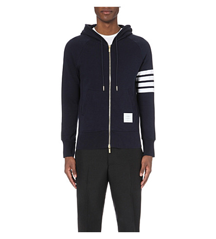 THOM BROWNE Striped cotton-jersey hoody (Navy