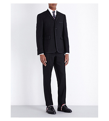 THOM BROWNE Tipped regular-fit wool and mohair suit (Black