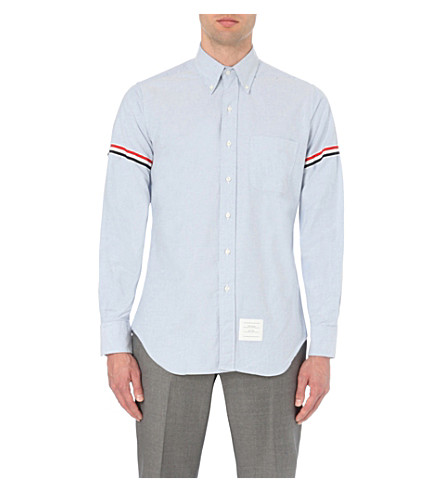 THOM BROWNE Signature-stripe regular-fit cotton-twill shirt (Blue