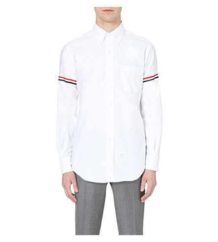 THOM BROWNE Signature-stripe regular-fit cotton-twill oxford shirt (White/blue/red