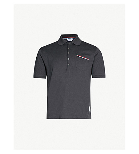 THOM BROWNE Striped-trim cotton-piqué polo shirt (Dark+grey