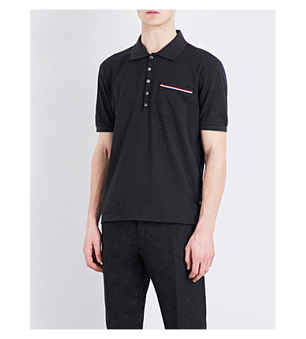 THOM BROWNE Stripe-detailed cotton-piqué polo shirt (Dark+grey