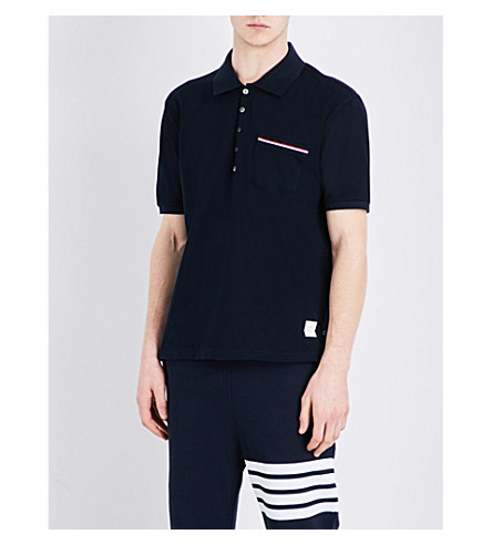 THOM BROWNE Stripe-detailed cotton-piqué polo shirt (Navy