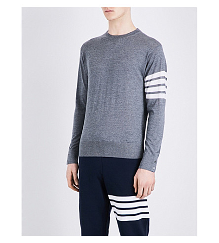 THOM BROWNE Striped-sleeve wool jumper (Med+grey