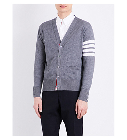 THOM BROWNE Striped-sleeve merino wool cardigan (Med+grey