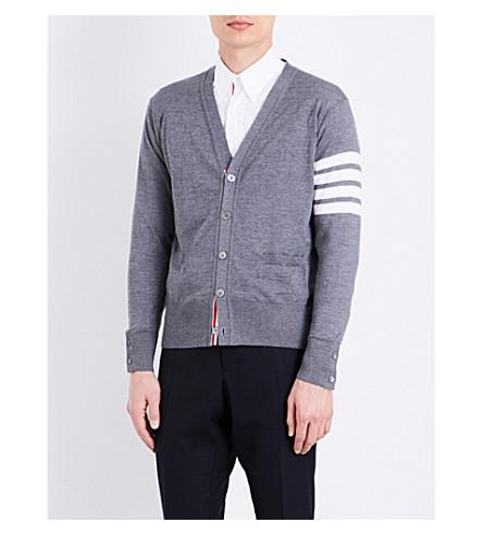 THOM BROWNE 条纹套美利奴羊毛开衫 (地中海 + 灰色