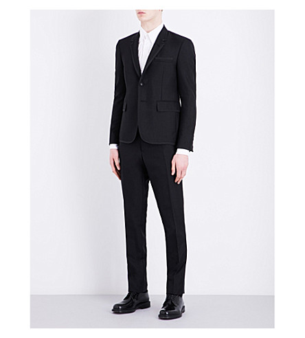 THOM BROWNE Notch lapel wool and mohair-blend tuxedo (Black