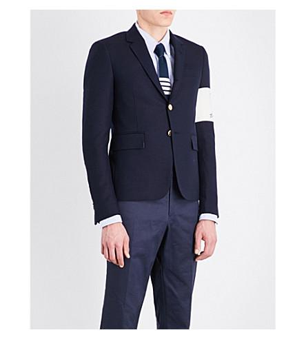 THOM BROWNE Contrast-ski patch slim-fit wool jacket (Navy