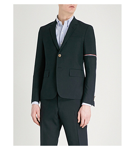 THOM BROWNE Horiz slim-fit wool-blend blazer (Navy
