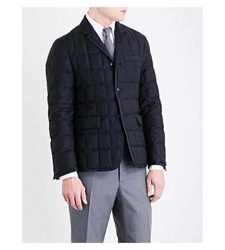THOM BROWNE Quilted wool twill-down jacket (Black