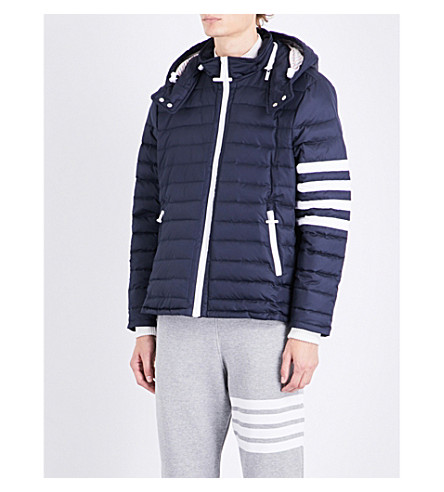 THOM BROWNE Striped-sleeve quilted jacket (Navy