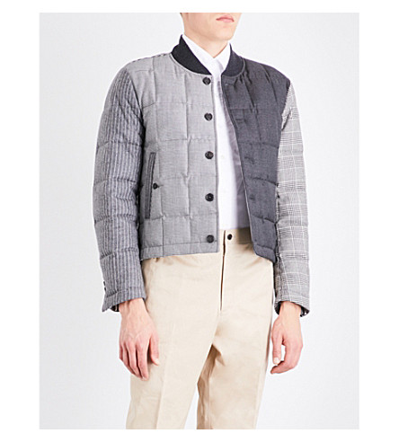 THOM BROWNE Funmix quilted wool jacket (Blk/wht