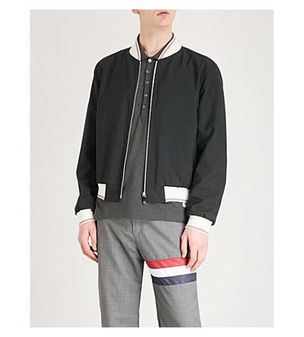THOM BROWNE Striped-trim wool-blend bomber jacket (Black