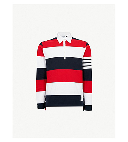 THOM BROWNE Rugby striped regular-fit cotton-jersey polo shirt (Multicolour