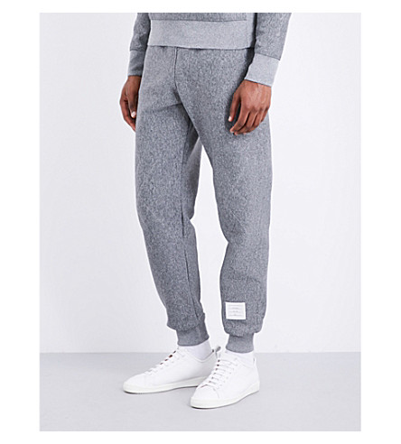 THOM BROWNE Quilted double-faced jacquard jogging bottoms (Med+grey