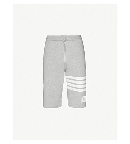 THOM BROWNE Striped-detail cotton-jersey shorts (Light+grey