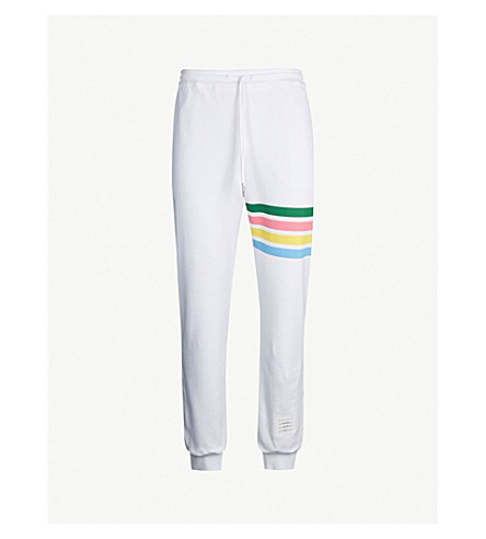 THOM BROWNE Rainbow-striped tapered cotton track pants (White